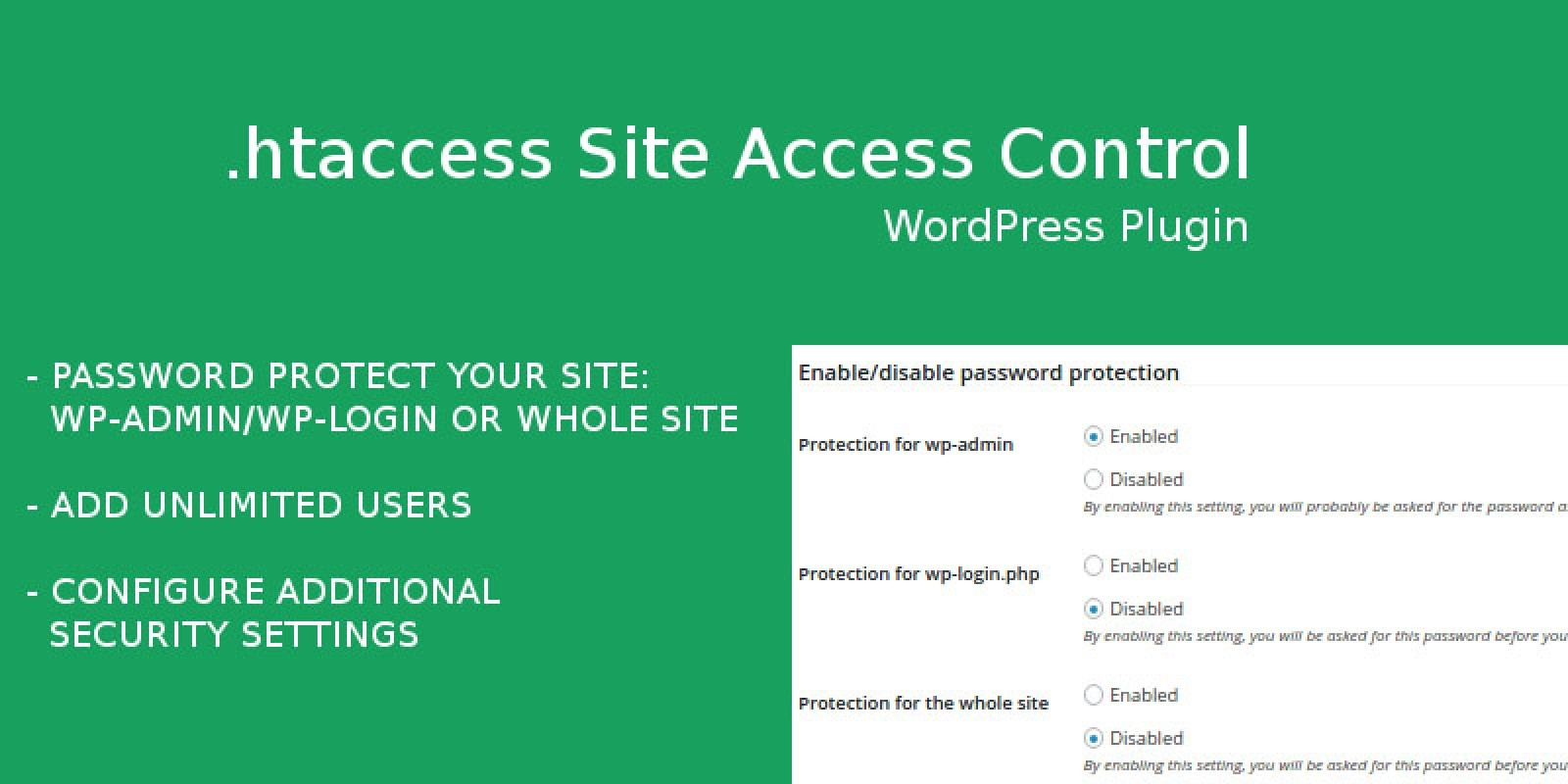 htaccess Site Access Control - WordPress Plugin