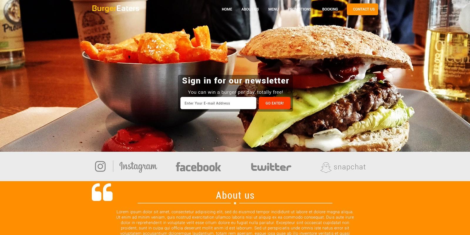 BurgerEaters - Restaurant HTML Template