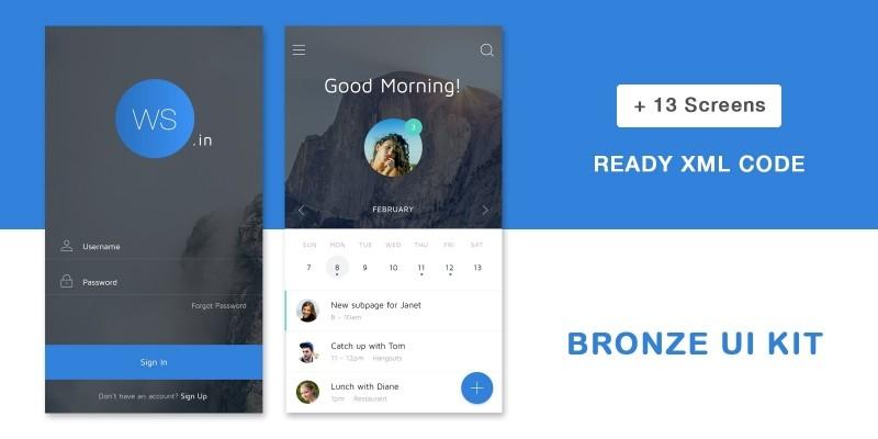 Bronze UI Kit - Android Studio UI Kit