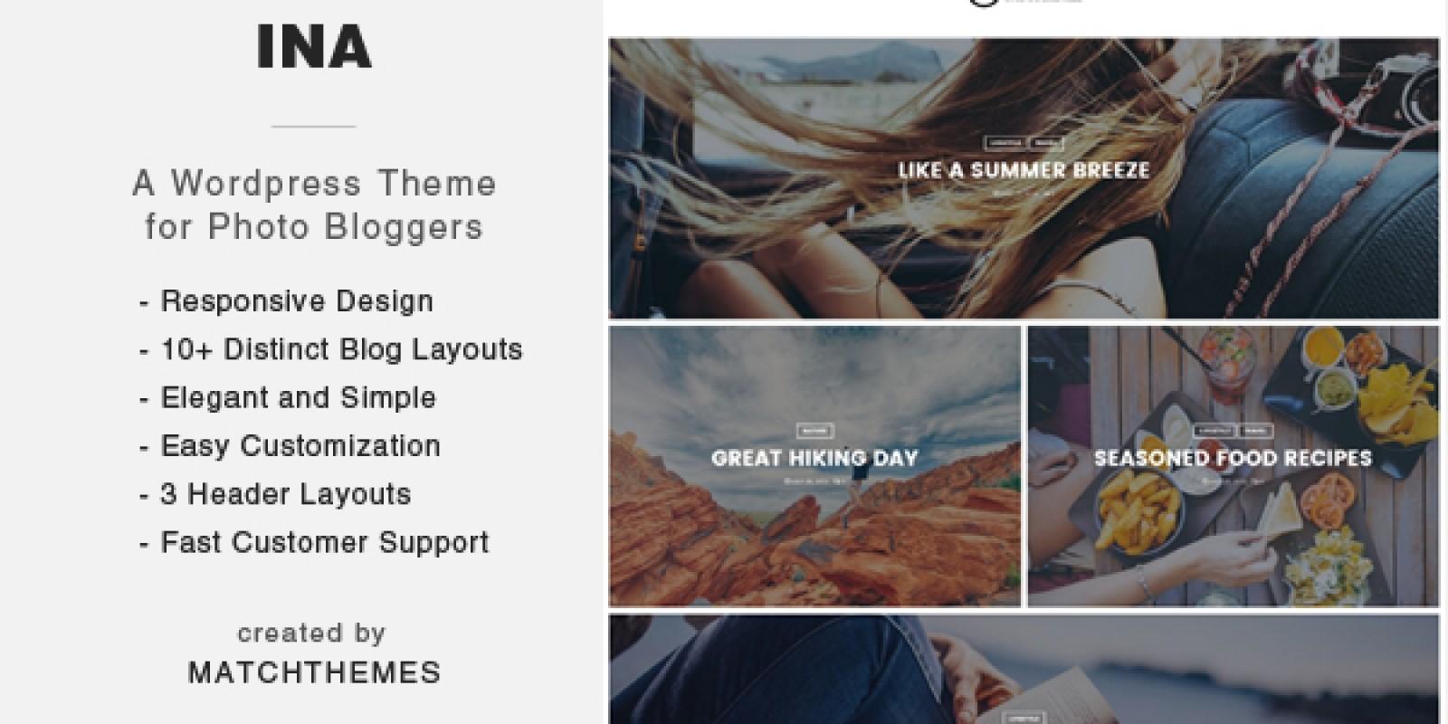 Ina - WordPress Photo Blog Theme