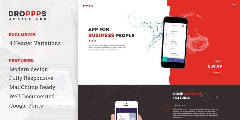 Droppps - Mobile App Landing Page