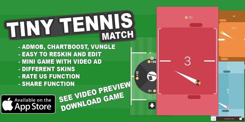 Tiny Tennis Match - iOS Game Source COde