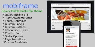 Mooiframe - jQuery Mobile Bootstrap HTML Template
