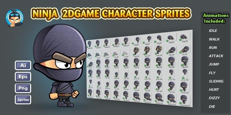 Black Ninja Character Sprites