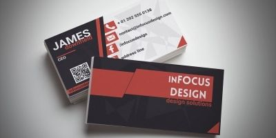 Modern Red And Black Business Card Template