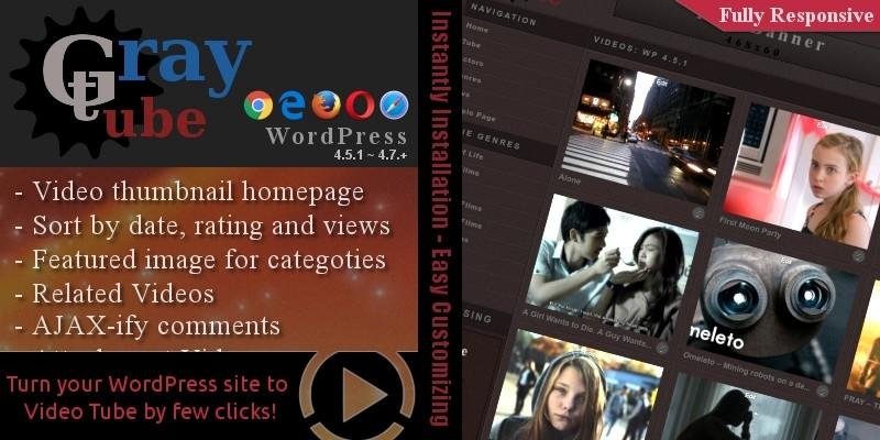 WPTubeGray - WordPress Video Tube Theme