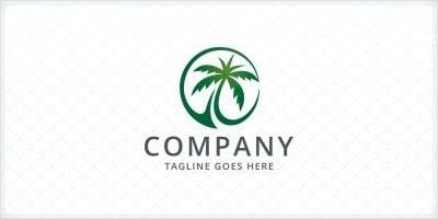 Green Palm Tree Logo Template