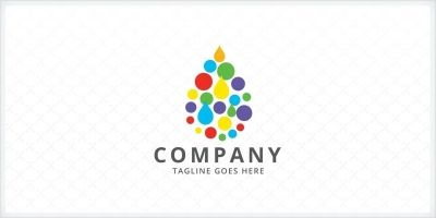 Rainbow Water Droplet Logo Template