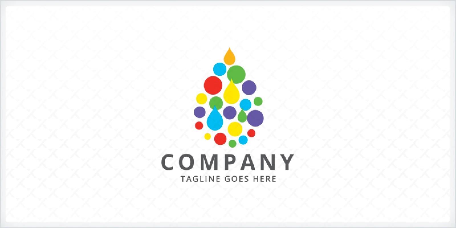 Rainbow Water Droplet Logo Template