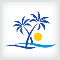 Palm Tree Beach Logo Template
