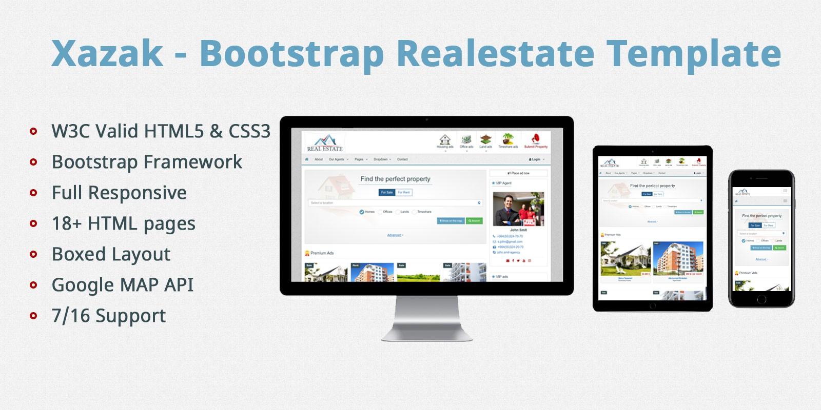 Xazak - Bootstrap Real Estate Template