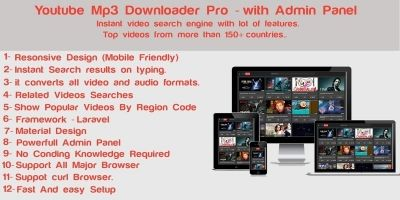 YoutoobMp3 Downloader Pro With Admin Panel