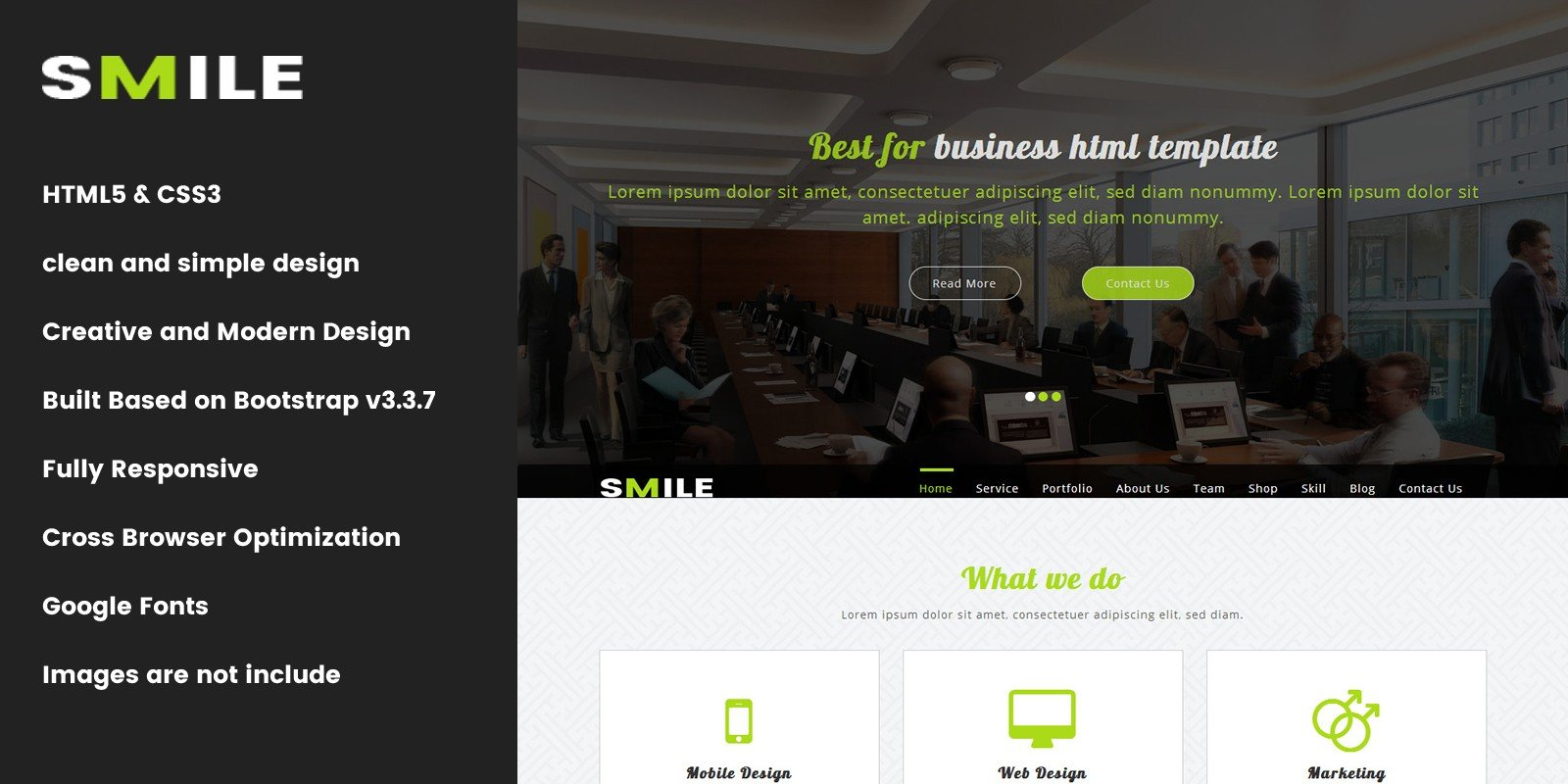 Smile - Onepage Parallax Business Template