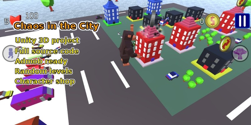 Chaos In The City - Unity Game Source Code