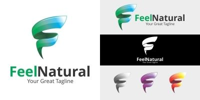 Letter F Logo - Feel Natural Logo Template