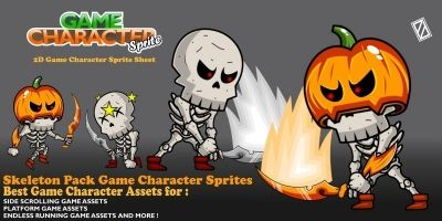 Skeleton Pack Game Character Sprite
