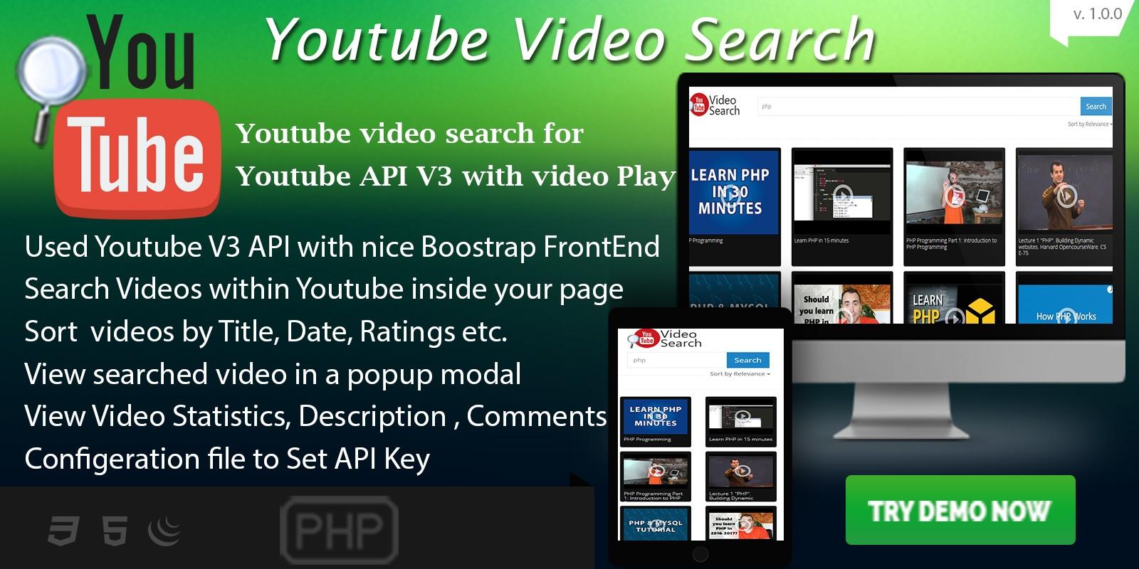 Youtube Video Search - Youtube API V3 PHP Script