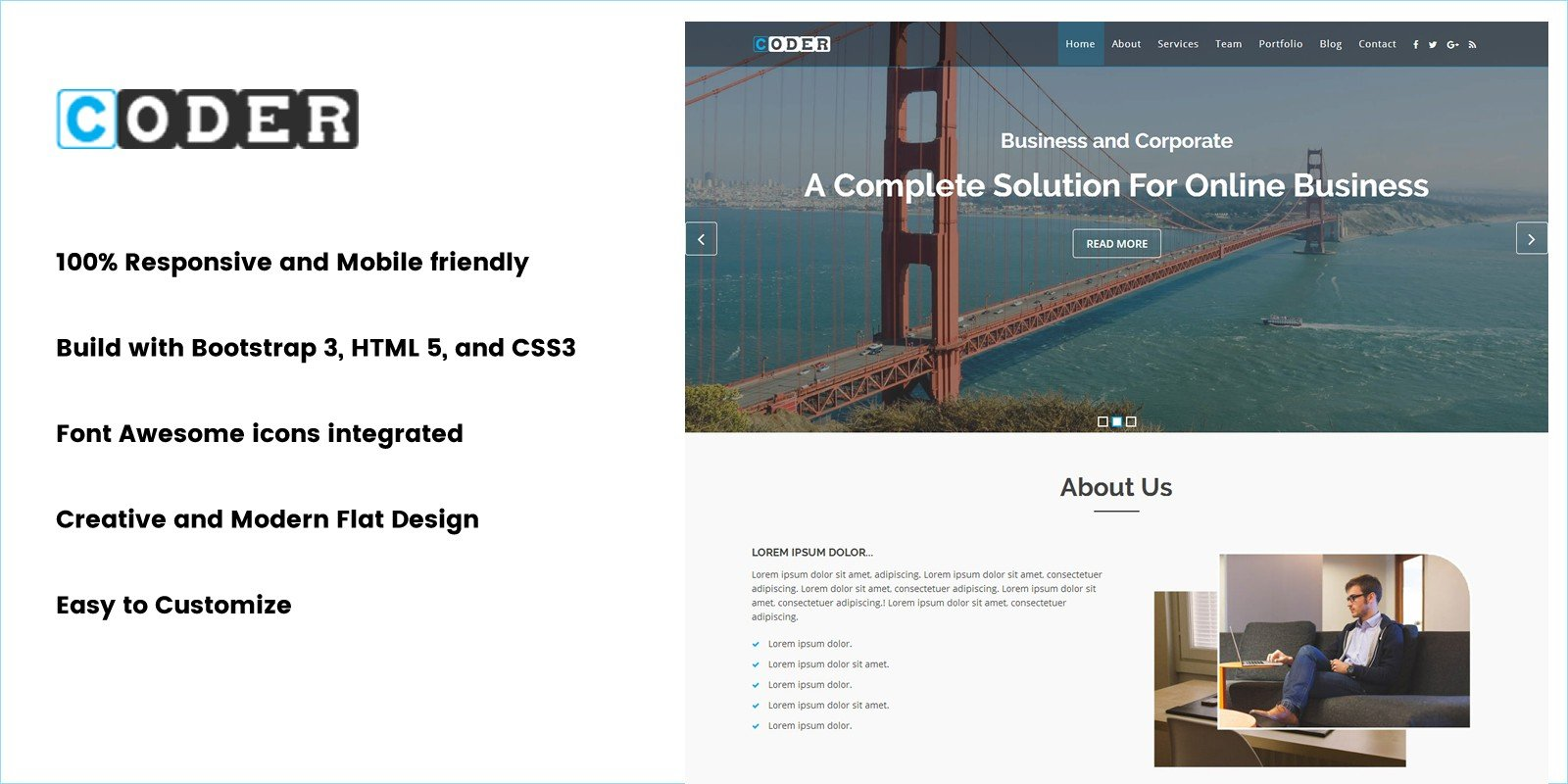 Coder - Onepage Business HTML Template