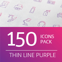 Purple Thin Lines - Vector Icon Pack
