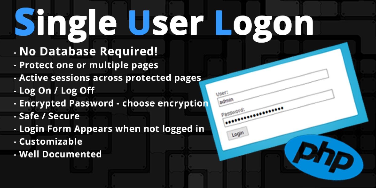 Single User Login Script Without Database