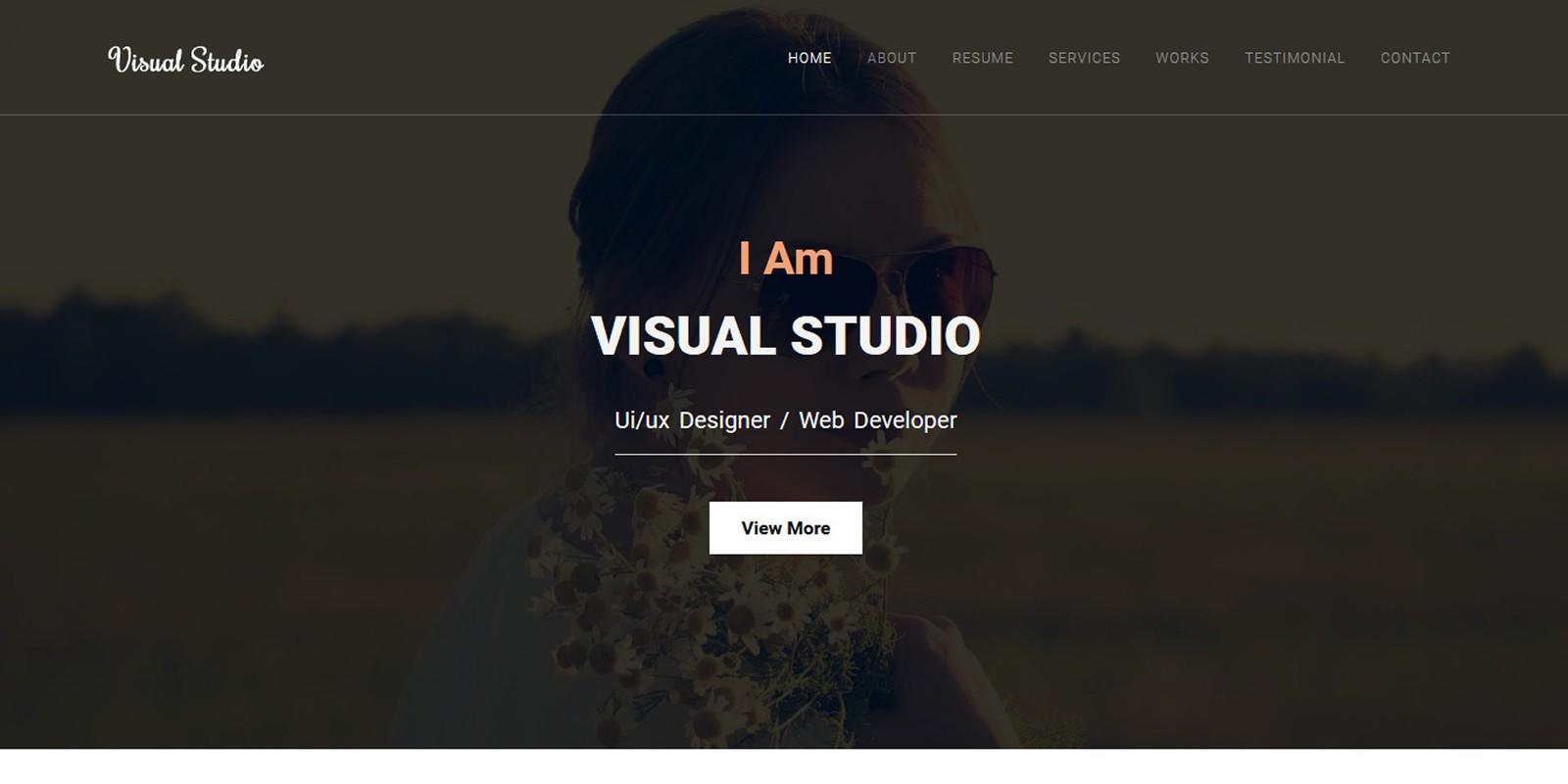 Visual Studio Creative Personal Portfolio Template