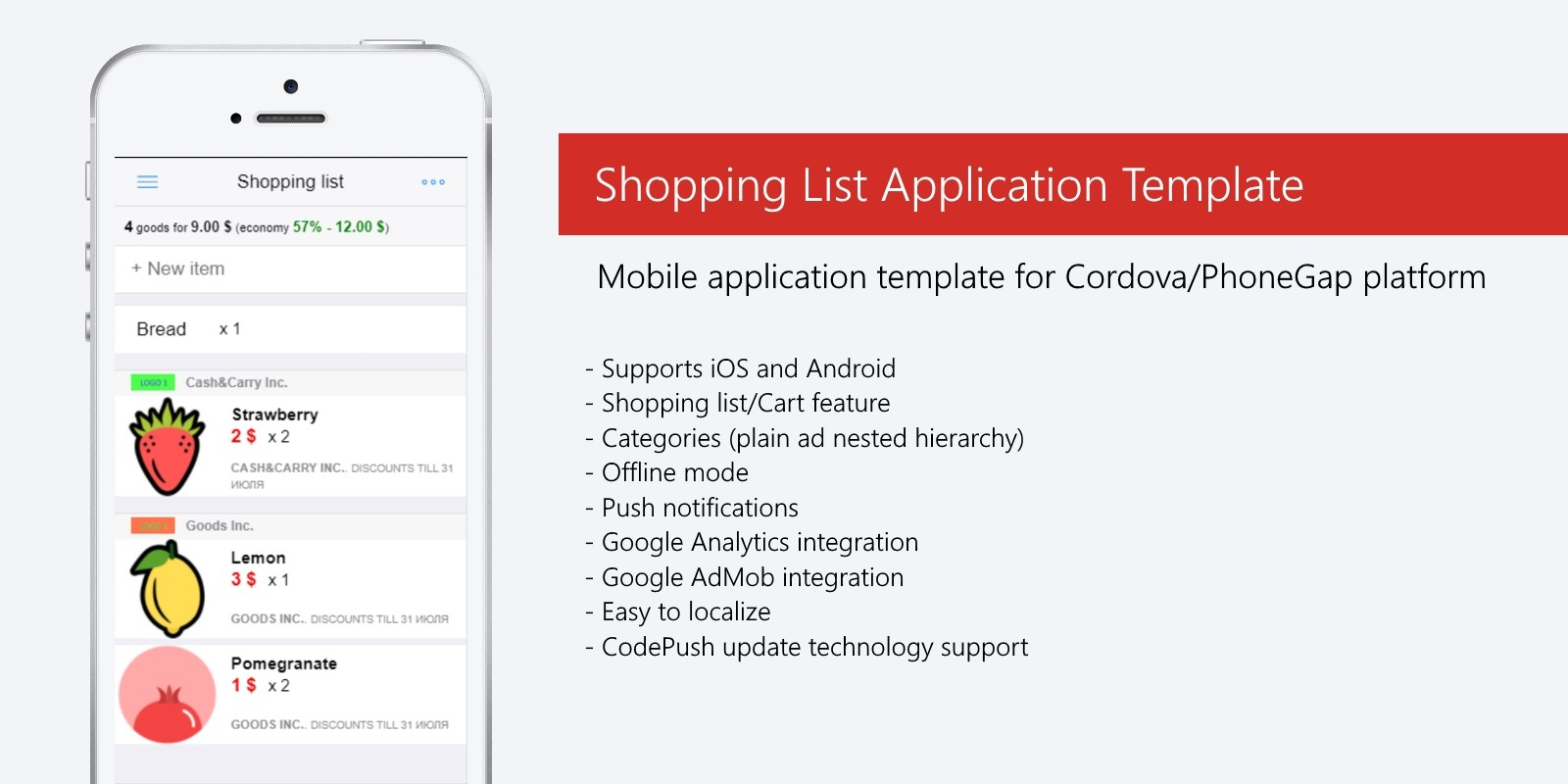 Shopping List App - Cordova Template