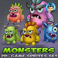 Monster Game Enemies Sprites Set