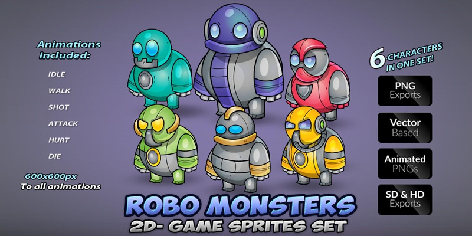 Robo Monsters Game Sprites Set