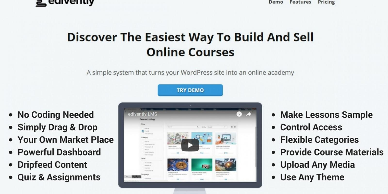 Edivently - Sell Courses WordPress Plugin