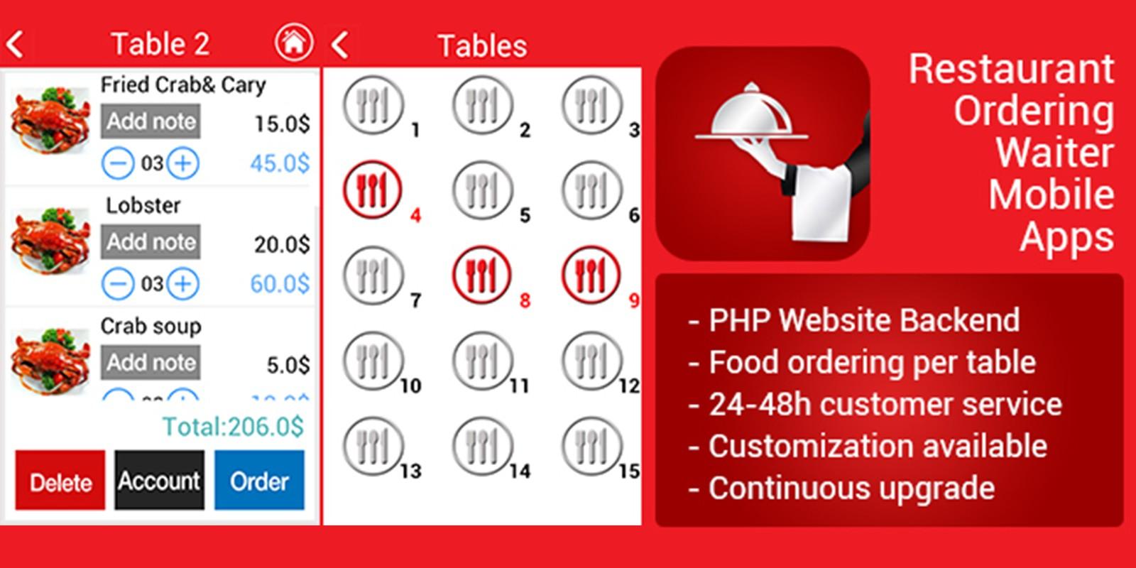 Waiter in Restaurant Android App Source Code
