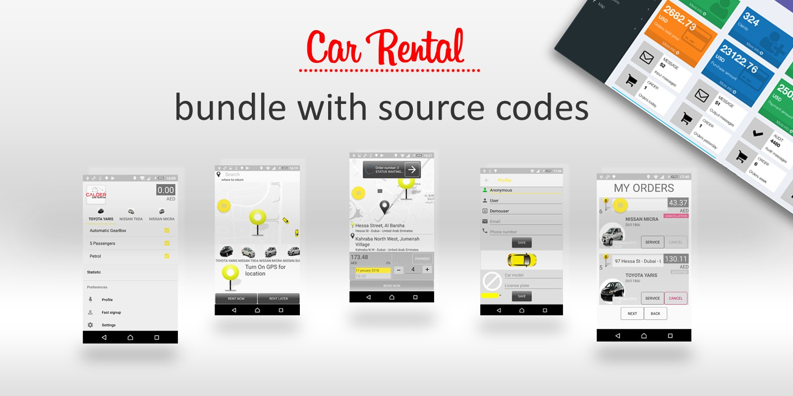 Car Rental - Android Source Code With Backend
