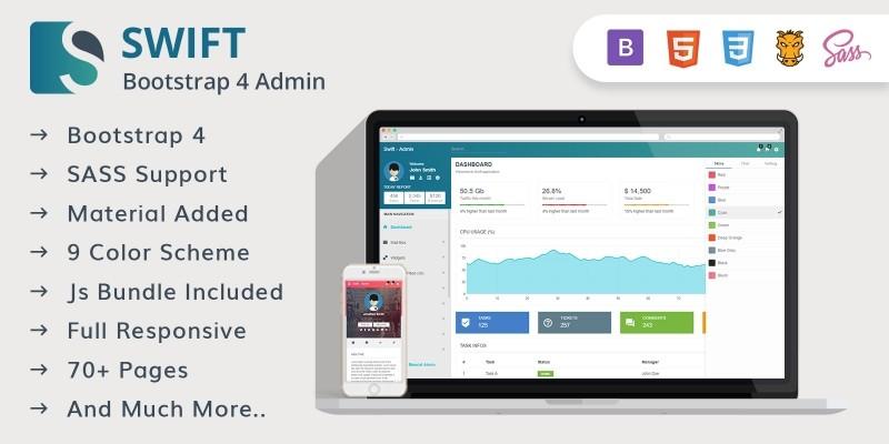 Swift - Bootstrap 4 Material Design Admin