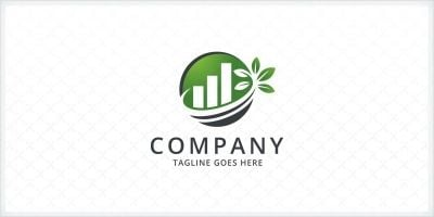Green Growth Bar Chart - Logo Template