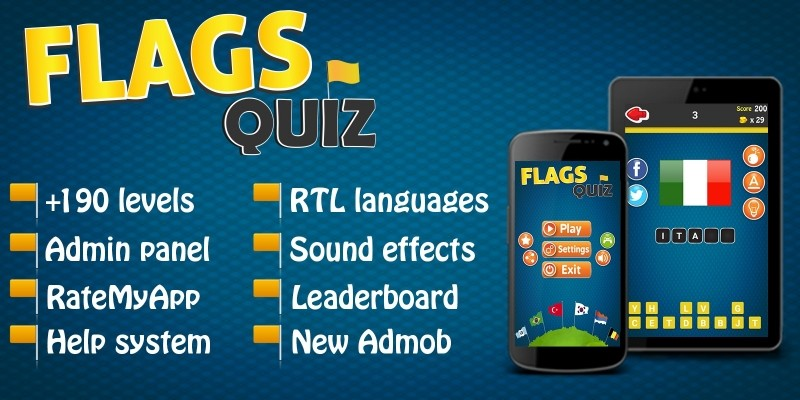 Flags Quiz - Android Game with Admin Panel