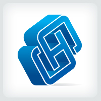 3D Letters SH or HS Logo