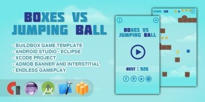 Boxes Vs Jumping Ball - Buildbox Game Template