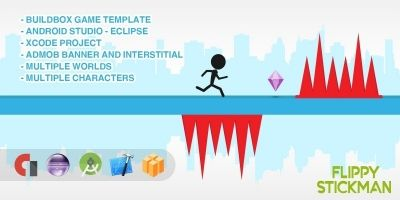 Flippy Stickman - Buildbox Game Template