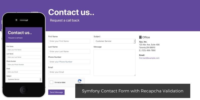 Symfony Contact Form with Recapcha Validation