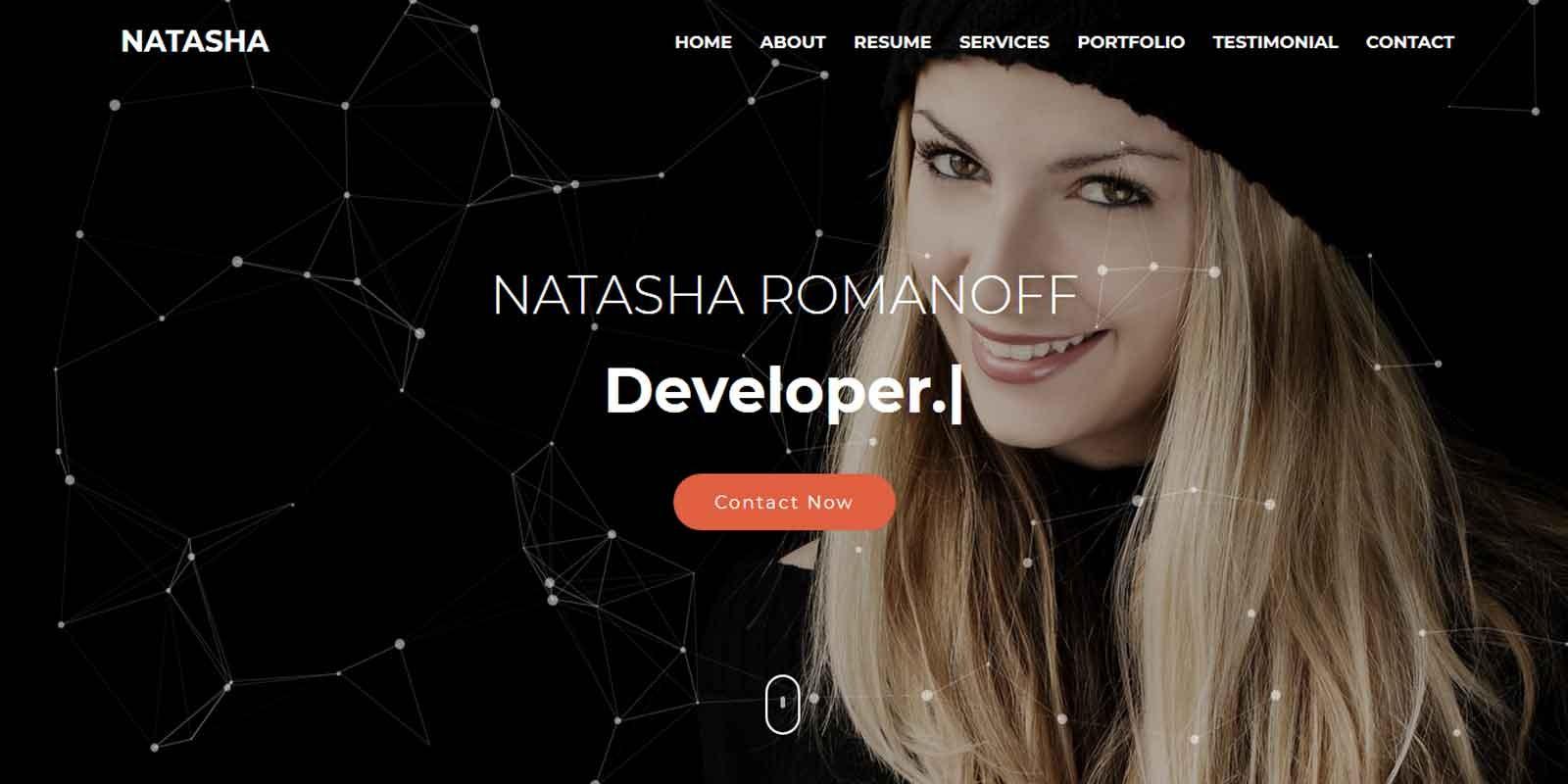 Natasha - One Page Portfolio HTML Template