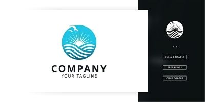 Ocean View Logo Template