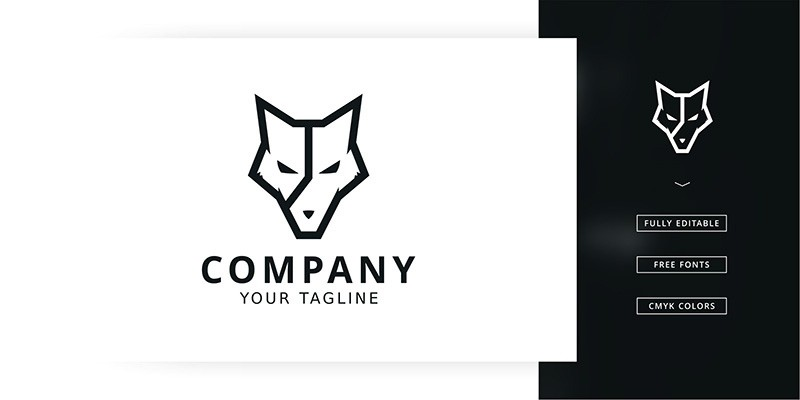 Time Wolf Logo Template