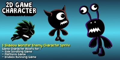 3 Shadow Enemy Monsters  2D Characters
