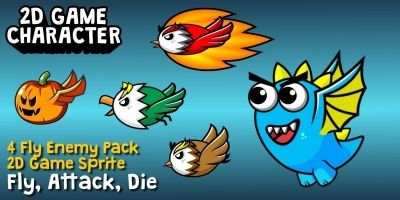 4 Fly Enemy Pack Game Sprite
