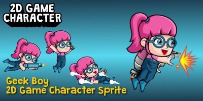 Geek Girl 2D Game Character Sprite
