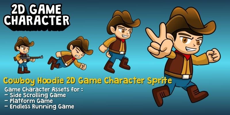 Cowboy Hoodie 2D Game Character Sprite