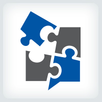 Puzzle Speech Bubble Logo