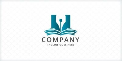 Book And Pen Logo Template