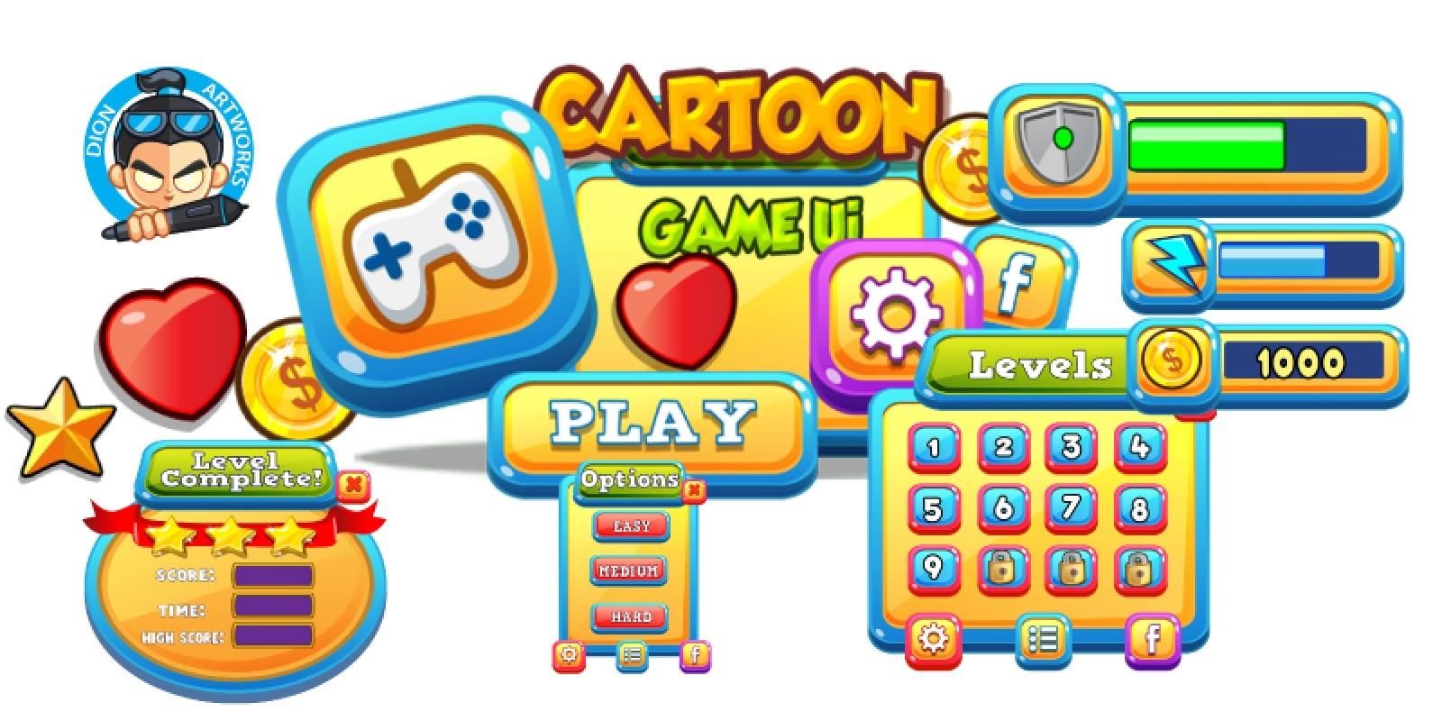 Cartoon Game Ui Set 14