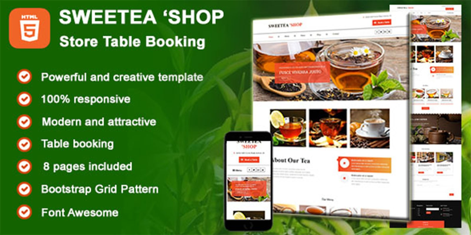 Sweetea Shop - HTML Tea Store Table Booking