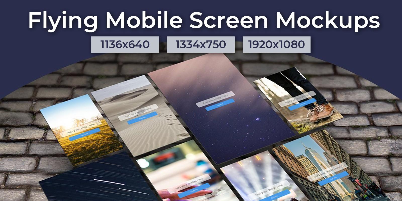 Flying Mobile Screen Mockups